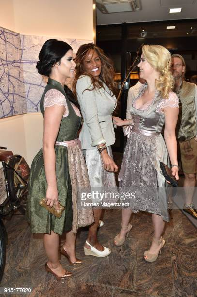 Micaela Schaefer, Nadja Abd el Farrag and Yvonne Woelke attend Trachtentrends 2018 at Sheraton on April 12, 2018 in Munich, Germany.