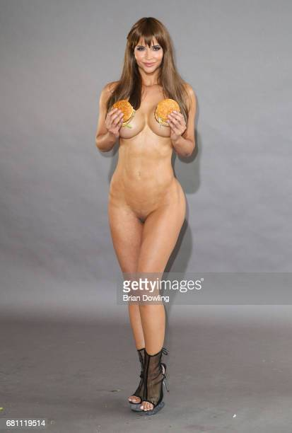 Micaela Schaefer poses during a photo shoot for the calendar 'Foodporn' on May 9, 2017 in Berlin, Germany.