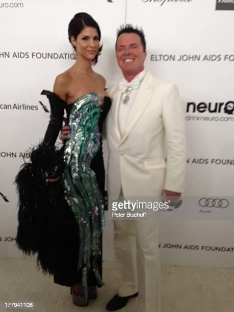 Micaela Schäfer mit Prinz Marcus von Anhalt bei 21 AidsHilfeParty Los Angeles Kalifornien USA Amerika Hollywood Sponsorenwand Model...