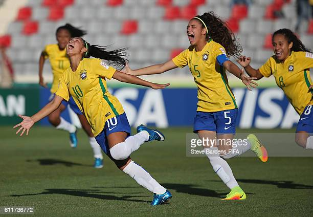Micaelly of Brazil celebrates scoring the opening goal during the FIFA U17 Women's World Cup Jordan 2016 Group C match between Nigeria and Brazil at...