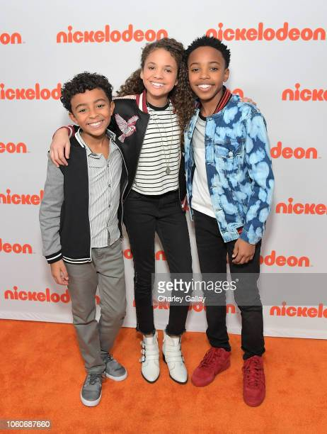 Micah Abbey Scarlet Spencer and Dallas Young attend Nickelodeon' Holiday Party With Casts Of Cousins For Life And Henry Danger at Nickelodeon Studios...
