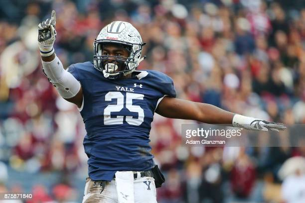 Micah Awodiran of the Yale Bulldogs reacts in the first half of a game against the Harvard Crimson at the Yale Bowl on November 18 2017 in New H