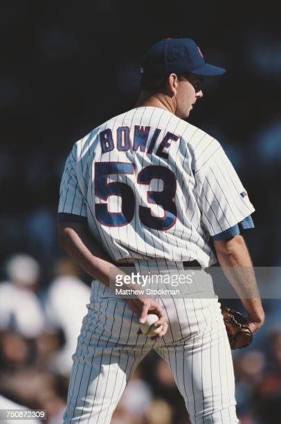 Micah Bowie left handed pitcher for the Chicago Cubs on the mound gripping the ball as he prepares to throw a pitch during the Major League Baseball...