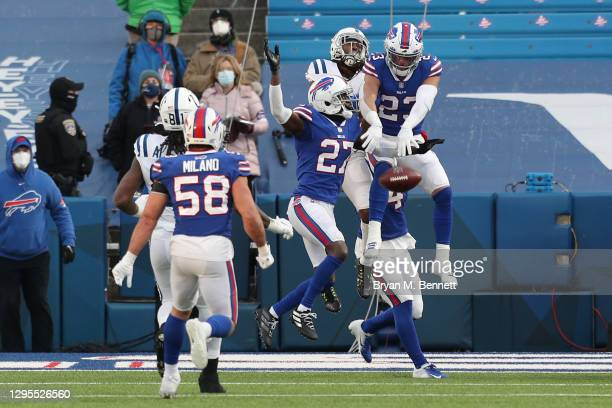 Micah Hyde of the Buffalo Bills bats down a Hail Mary pass thrown by Philip Rivers of the Indianapolis Colts during the second half of the AFC Wild...