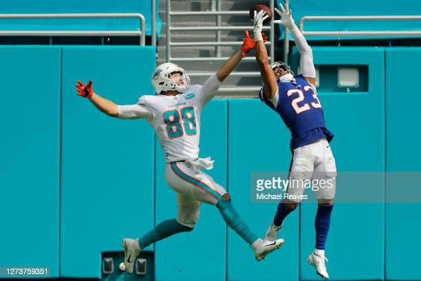 Micah Hyde of the Buffalo Bills breaks up a pass in the endzone intended for Mike Gesicki of the Miami Dolphins during the second half at Hard Rock...