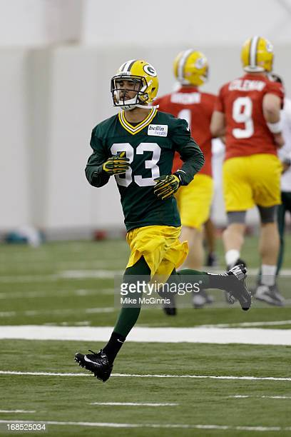 Micah Hyde of the Green Bay Packers runs through some running back drills during rookie camp at the Don Hutson Center on May 10, 2013 in Green Bay,...