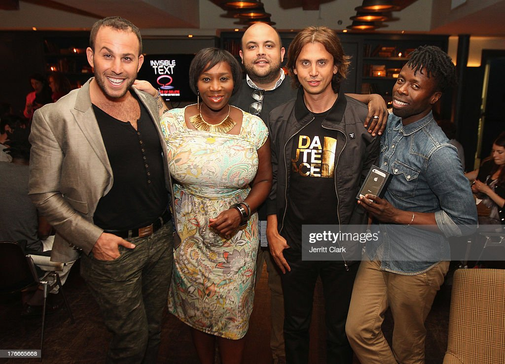 Micah Jesse, Beverly Smith, James Campbell, Jonathan Cheban and Memsor Kamarake attend the Invisible Text Mobile App Preview at the Soho House on August 14, 2013 in New York City.
