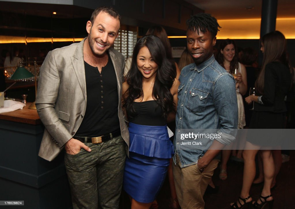 Micah Jesse, Tina Lee and Memsor Kamarake attends the Invisible Text Mobile App Preview at the Soho House on August 14, 2013 in New York City.