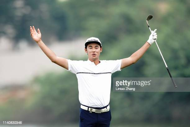 Micah Lauren Shin of the United States celebrates after playing a shot during day two of the 2019 Volvo China Open at Genzon Golf Club on May 3 2019...