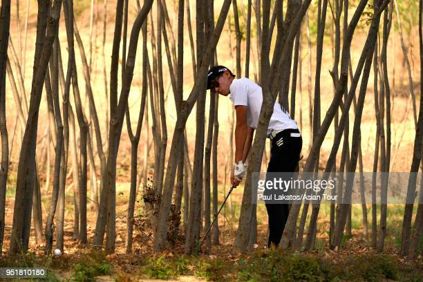 Micah Lauren Shin of the USA pictured during round two of the Volvo China Open at the Beijing Topwin Golf and Country Club on April 27, 2018 in...