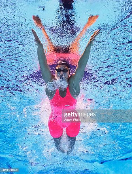 Micah Lawrence of the United States competes in the Women's 200m Breaststroke final on day fourteen of the 16th FINA World Championships at the Kazan...
