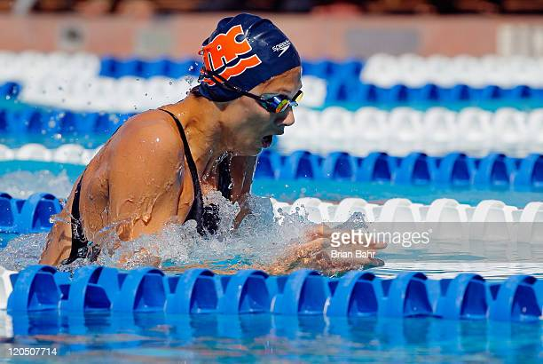 Micah Lawrence splits the water to win heat 16 of the women's 200 meter breaststroke during the national championships at Stanford University's Avery...