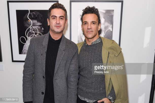 Micah Marcus and George Kotsiopoulos attend Oliver Peoples x Tasya van Ree Celebrates Who is Oliver Exhibition at LECLAIREUR on February 13 2019 in...