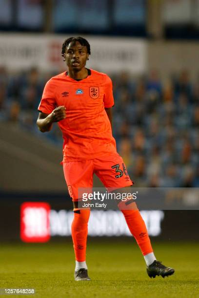 Micah Obiero of Huddersfield Town during the Sky Bet Championship match between Millwall and Huddersfield Town at The Den on July 22 2020 in London...