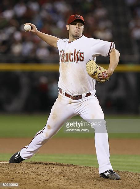 Micah Owings of the Arizona Diamondbacks pitches during the game against the San Francisco Giants at Chase Field in Phoenix Arizona on April 21 2008...