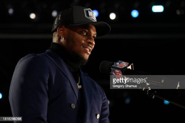 Micah Parsons speaks onstage after being selected 12th by the Dallas Cowboys during round one of the 2021 NFL Draft at the Great Lakes Science Center...
