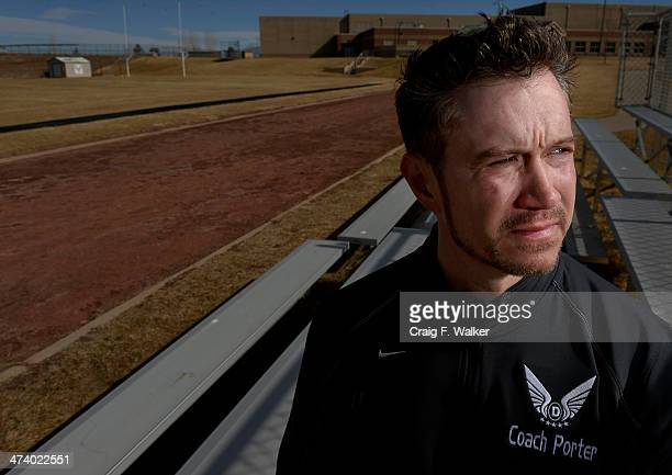 Micah Porter pose for a portrait at D'Evelyn High School where he is teacher and cross country and track and field coach in Jefferson County, CO...