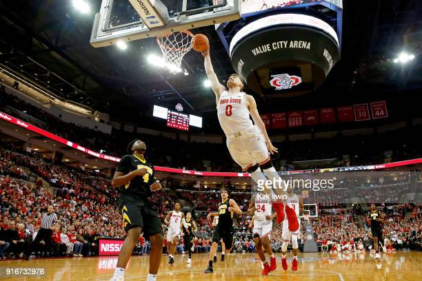 Micah Potter of the Ohio State Buckeyes attempts to dunk the ball during the first half of the game against the Iowa Hawkeyes at Value City Arena on...