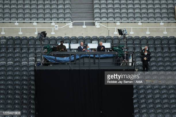 Micah Richards, Alan Shearer and Gary Lineker presenting BBC Match of the Day during the FA Cup Quarter Final match between Newcastle United and...