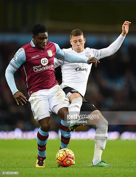 Micah Richards of Aston Villa and Ross Barkley of Everton compete for the ball during the Barclays Premier League match between Aston Villa and...