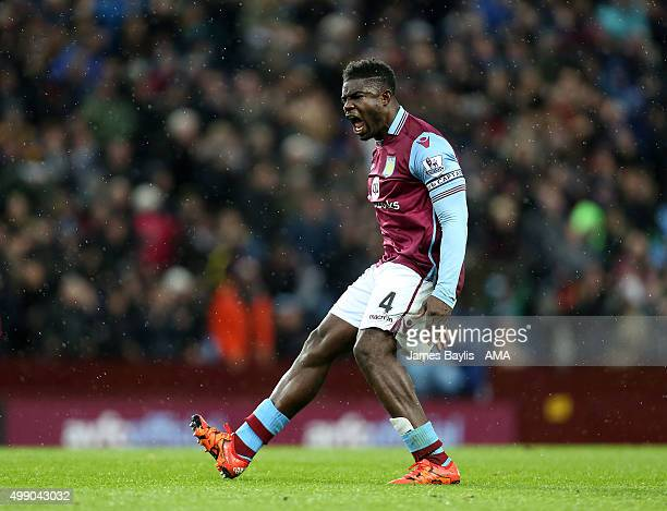 Micah Richards of Aston Villa celebrates after scoring a goal to make it 1-1 during the Barclays Premier League match between Aston Villa and Watford...