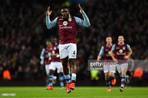 Micah Richards of Aston Villa celebrates scoring his team's first goal during the Barclays Premier League match between Aston Villa and Watford at...