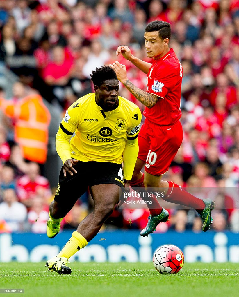 Micah Richards of Aston Villa during the Barclays Premier League match between Liverpool and Aston Villa at Anfield on September 26, 2015 in Leicester, England.