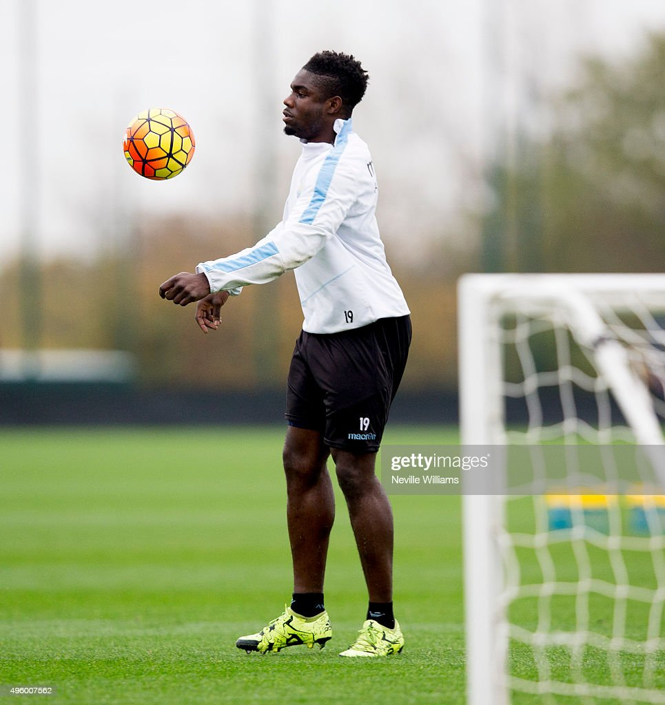 Micah Richards of Aston Villa in action during a Aston Villa training session at the club's training ground at Bodymoor Heath on November 06, 2015 in Birmingham, England.