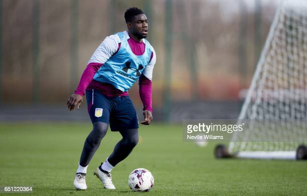 Micah Richards of Aston Villa in action during a Aston Villa training session at the club's training ground at Bodymoor Heath on March 10 2017 in...