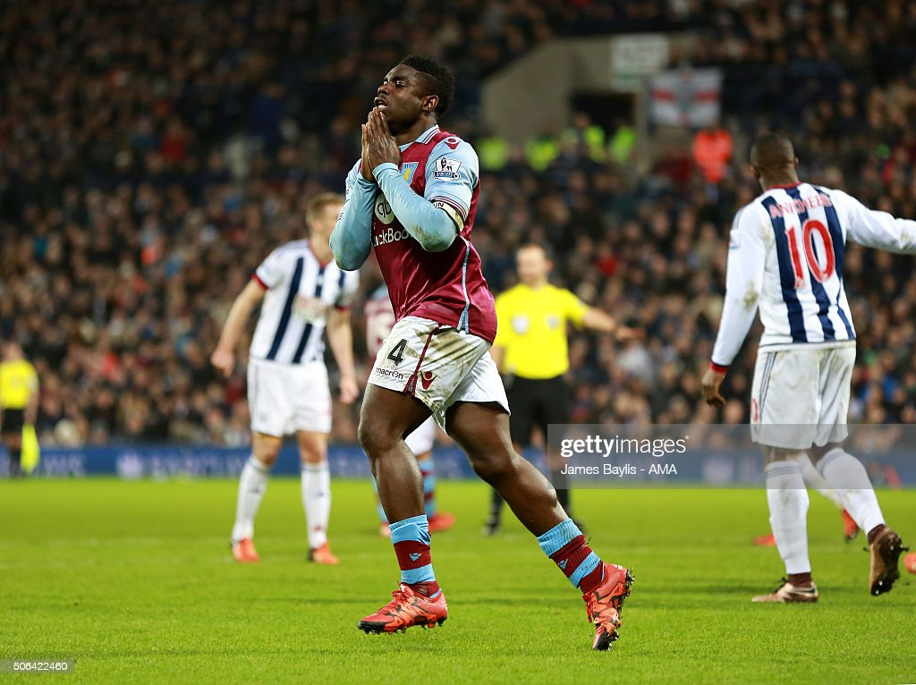 Micah Richards of Aston Villa reacts after missing a chance to score during the Barclays Premier League match between West Bromwich Albion and Aston Villa at The Hawthorns on January 23, 2016 in West Bromwich, England.