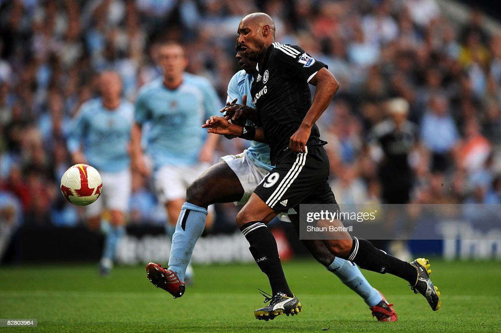 Micah Richards of Manchester battles with Nicolas Anelka of Chelsea during the barlclays Premier League match between Manchester City and Chelsea at The City of Manchester Stadium on September 13, 2008 in Manchester, England.