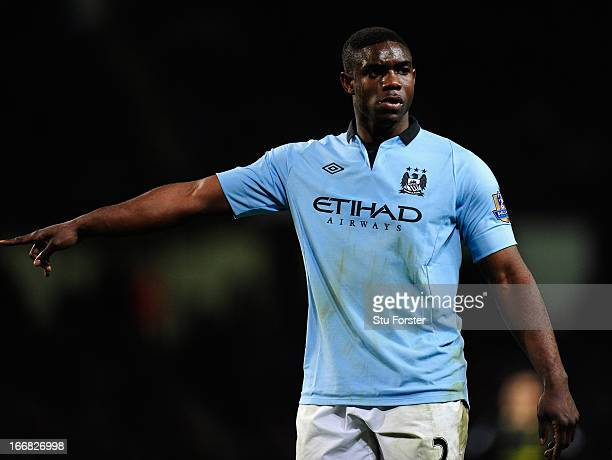Micah Richards of Manchester City gestures during the Barclays Premier League match between Manchester City and Wigan Athletic at the Etihad Stadium...