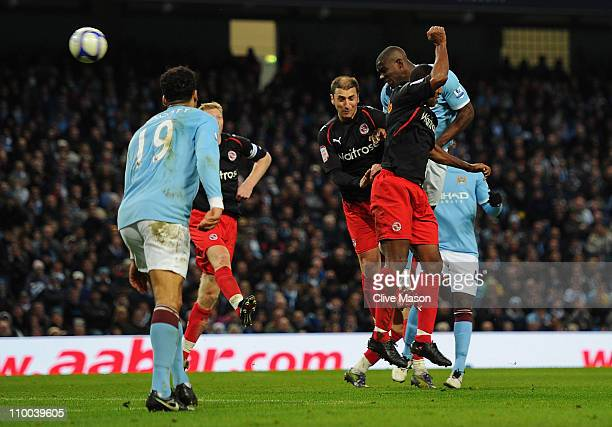 Micah Richards of Manchester City heads towards goal and scores during the FA Cup sponsored by E.On Sixth Round match between Manchester City and...