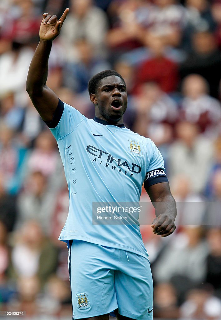 Micah Richards of Manchester City in action during the pre-season friendly at Tynecastle Stadium on July 18, 2014 in Edinburgh, Scotland.
