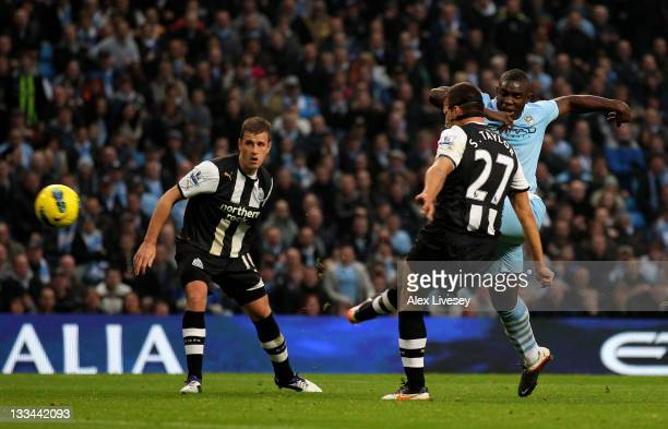 Micah Richards of Manchester City scores his team's second goal during the Barclays Premier League match between Manchester City and Newcastle United...