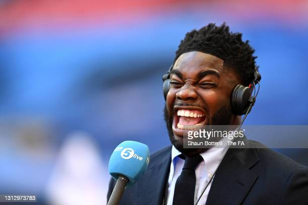 Micah Richards, Pundit and former Manchester City player reacts prior to the Semi Final of the Emirates FA Cup match between Manchester City and...