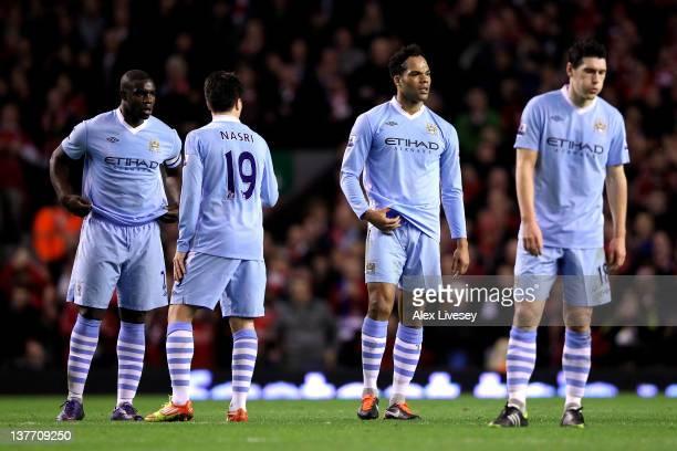 Micah Richards Samir Nasri Joleon Lescott and Gareth Barry of Manchester City look dejected during the Carling Cup Semi Final Second Leg match...
