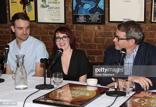 """Micah Stock, Megan Mullally and Matthew Broderick attend the """"It's Only A Play"""" Cast Photocall at Joe Allen Restaurant on August 19, 2014 in New York..."""