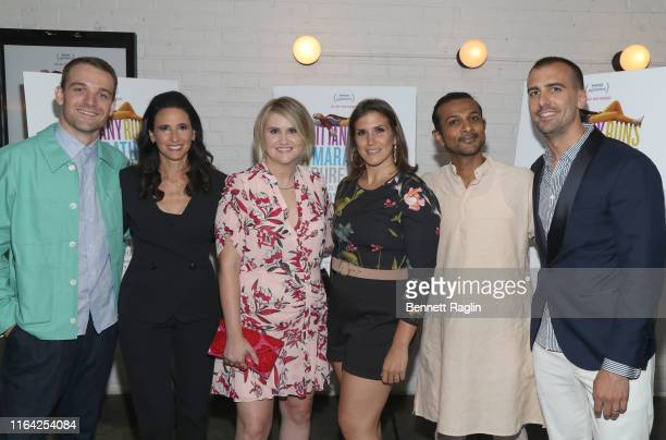Micah Stock Michaela Watkins Jillian Bell Brittany Forgler Utkarsh Ambudkar and Paul Downs Colaizzo pose for a picture during the New York screening...