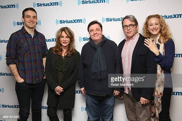 Micah Stock Stockard Channing Nathan Lane Matthew Broderick and Katie Finneran attend SiriusXM's 'Town Hall' with cast members of 'It's Only A Play'...