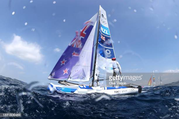 Micah Wilkinson and Erica Dawson of Team New Zealand compete in the Nacra 17 Foiling class on day eight of the Tokyo 2020 Olympic Games at Enoshima...
