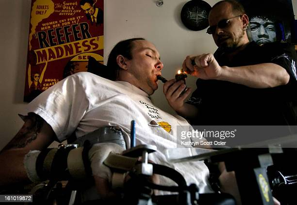 DENVER CO JUNE 2005 Micah<cq> Moffett<cq> a quadriplegic confined to a wheelchair since a motorcycle accident in 1991<cq> needs assistance from his...