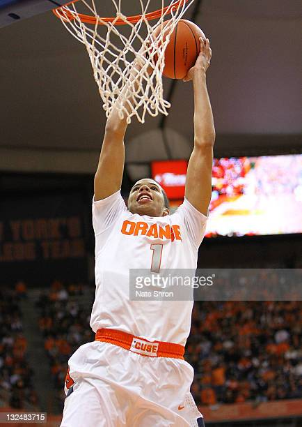 Micahel CarterWilliams of the Syracuse Orange misses a dunk against the Fordham University Rams during the game at the Carrier Dome on November 12...