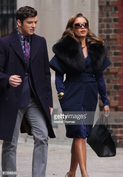Micahel Urie and Vanessa Williams are seen on the set of the TV show Ugly Betty on location on the Streets of Manhattan on September 29 2009 in New...