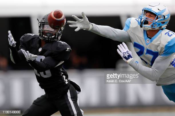 MicahHannemann of Salt Lake Stallions defends a pass intended for DeVozea Felton of Birmingham Iron during an Alliance of American Football game at...