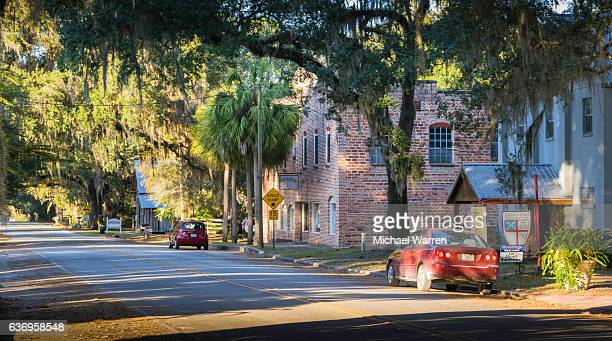 micanopy, florida street scene - gainesville florida stock photos and pictures