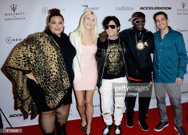 Micayla De Ette Courtney Anne Mitchell Corey Feldman Flavor Flav and Tarek Tohme arrive for the Premiere Of Acceleration held at AMC Broadway 4 on...