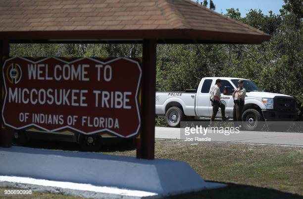 Miccosukee tribal police setup a roadblock to prevent media from entering the reservation as an emergency hearing in the tribal court takes place on...