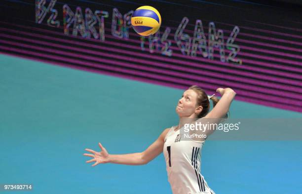 Micha Hancock of USA in action during FIVB Volleyball Nations League on 12 June 2018 in Santa Fe Argentina The US Womens National Team lost to Serbia...