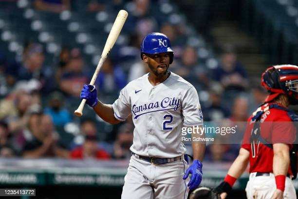 Michael A. Taylor of the Kansas City Royals reacts after being struck out by Cal Quantrill of the Cleveland Indians during the fifth inning at...